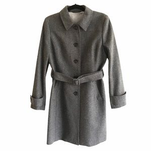 BROOKS BROTHERS Wool Button Front Coat Belt Grey 8